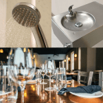 shower, drinking fountain, restaurant table